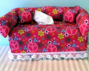 I.F.'s peace sign-patterned loveseat