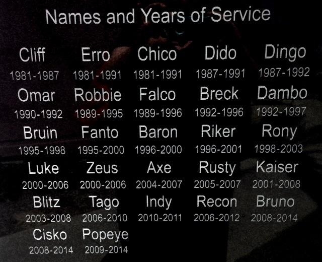 Ext Police Dog Memorial names